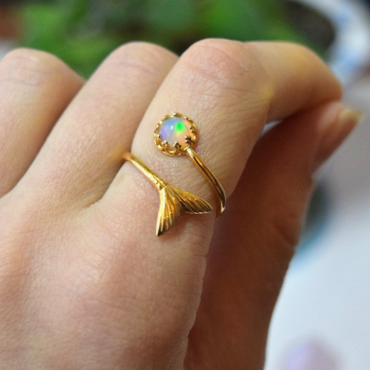 Mermaid Ring Mermaid Jewelry Uk Gold Opal Ring Opal Boho Wedding Ring Women