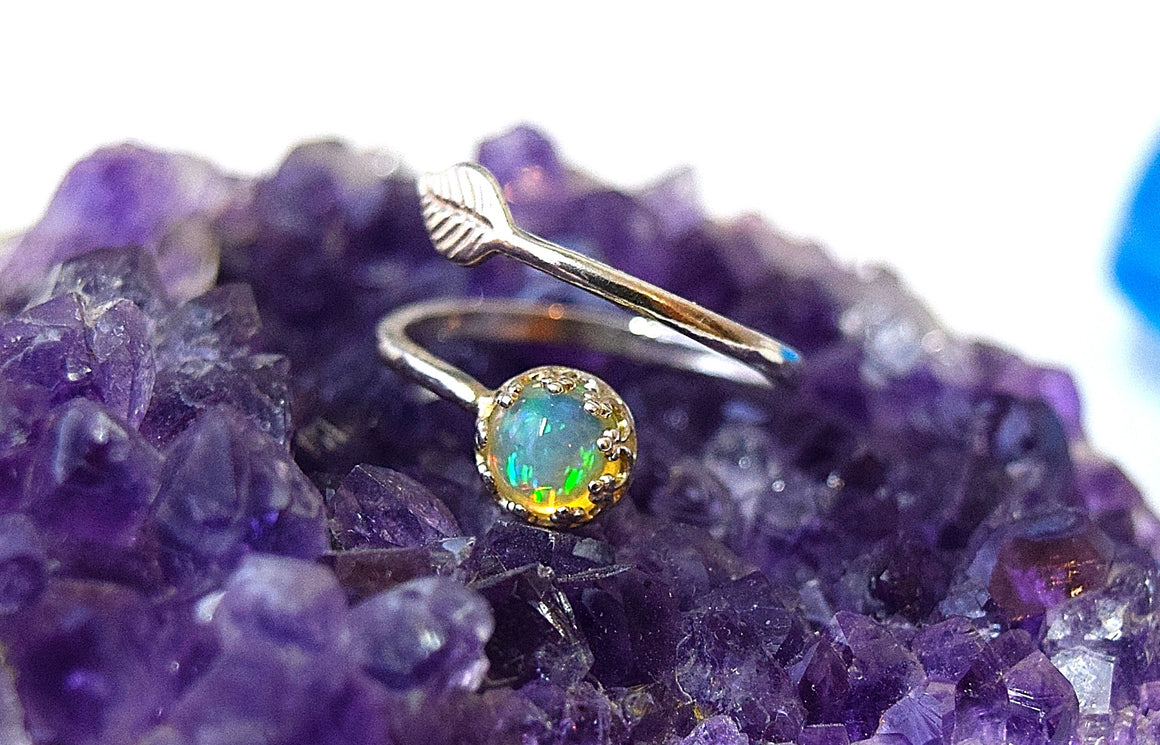 Opal Ring Opal Engagement Rings for Women Boho Ring Sterling Silver Ring Opal Jewelry Adjustable Ring Sizes 5.5/8, Genuine Ethiopian Opal