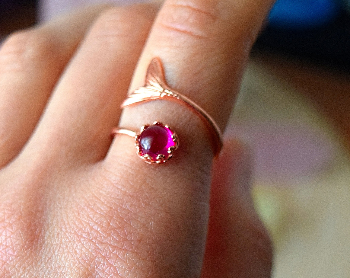Ruby Mermaid Ring Copper Ring Adjustable, Mermaid Jewelry