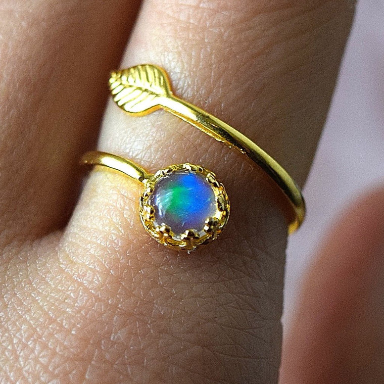 Opal Ring Gold Ring Boho Stacking Rings
