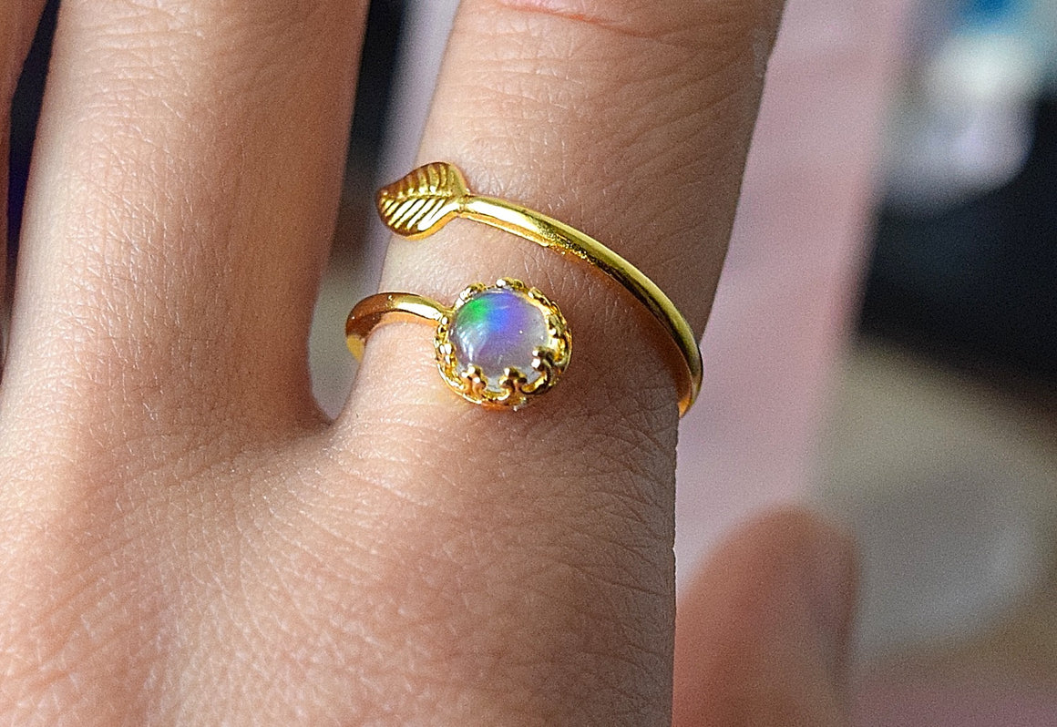 Opal Ring Opal Engagement Rings for Women Boho Ring 24k Gold Ring Opal Jewelry Adjustable Ring Sizes 5.5/8, Genuine Ethiopian Opal