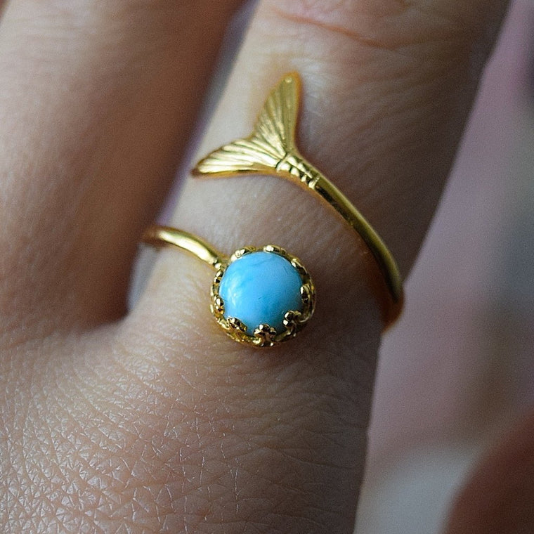 Larimar Ring Gold Ring Adjustable Ring