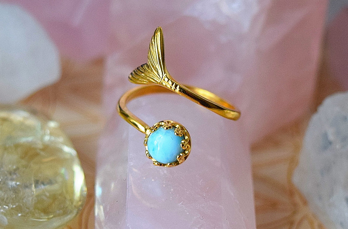 Gold Larimar Ring Adjustable Mermaid Ring