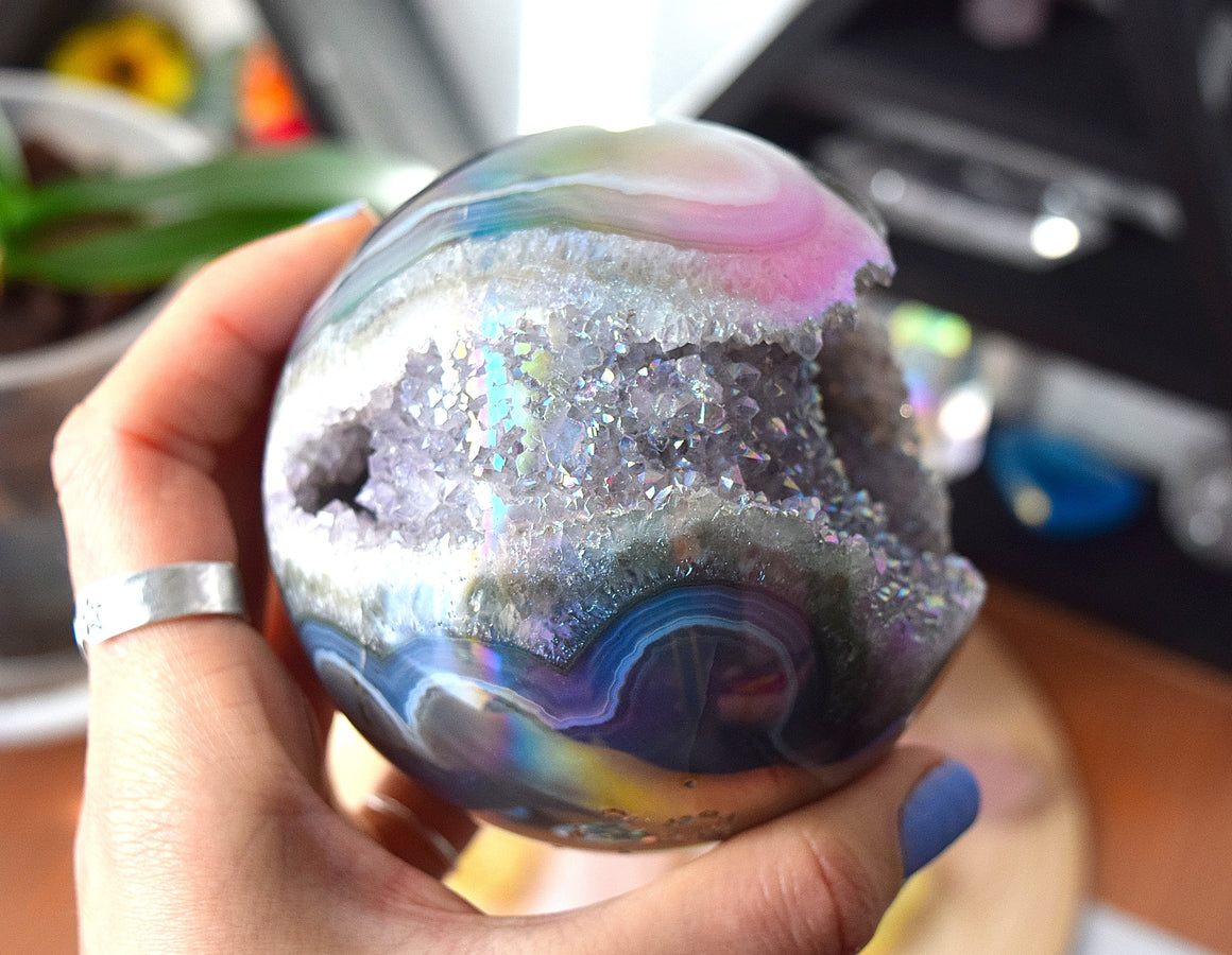 Angel Aura Geode Sphere, Amethyst Angel Aura Sphere, Aura Quartz Sphere, SHIPPING INCLUDED - 2