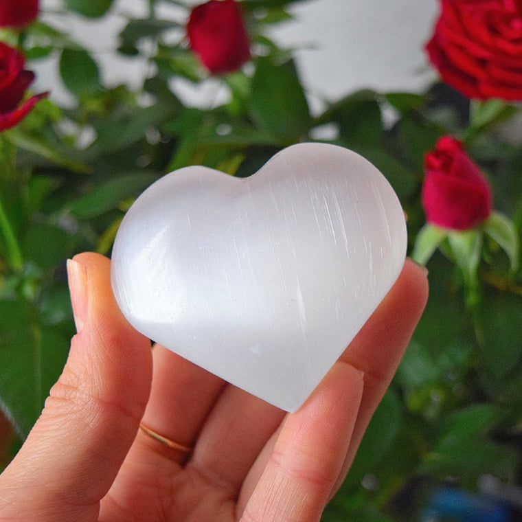 Selenite Crystal Hearts