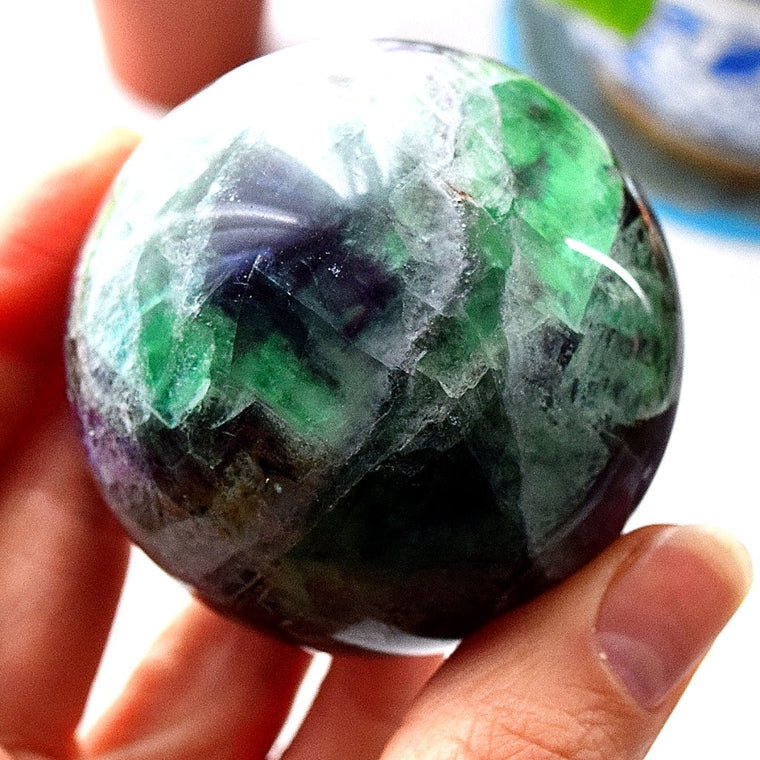Fluorite Crystal Sphere Ball, Healing Gemstone Sphere - F7