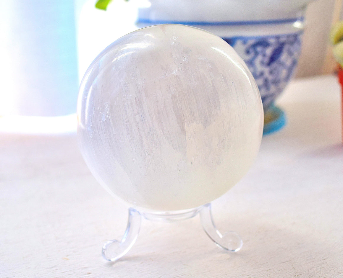LARGE Selenite Sphere with Stand