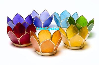 Lotus Candle Holder Gift Set 7 chakra colors