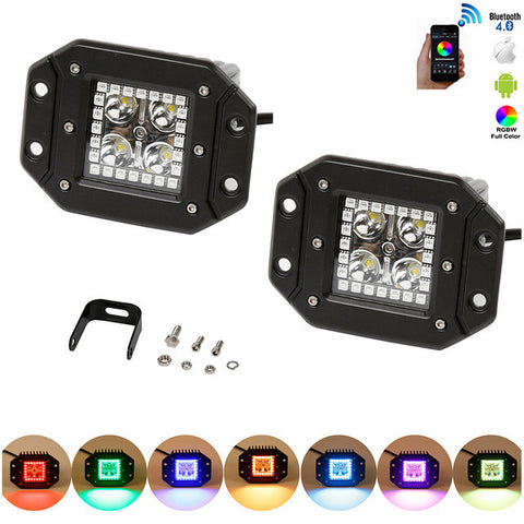 2pcs 12W Flushmount LED Work Light with RGB HALO RING color