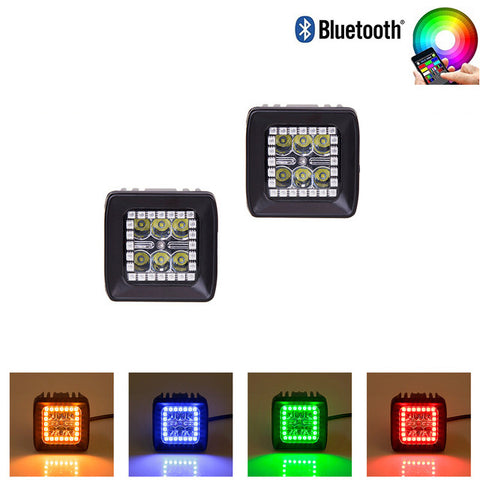 2pcs Bluetooth Control 18W Cree LED Work Light with Chaser RGB Halo