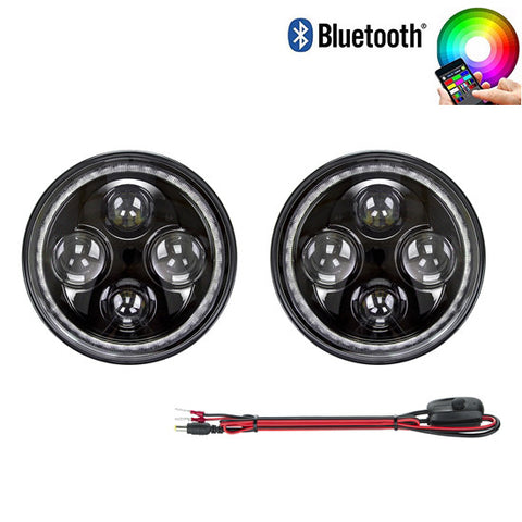 2pcs 7″ Round LED Headlight high low beam RGB Halo compatible with Jeep Wrangler
