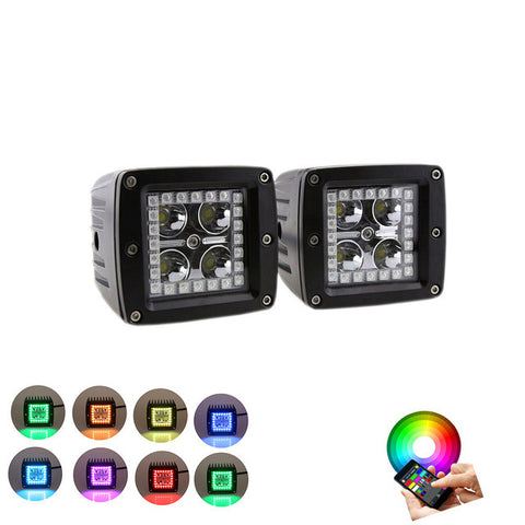 2PCS 12W LED Work Light Pods with RGB HALO RING
