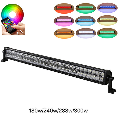 "Straight 32""/42""/50""/52"" Bluetooth Control RGB Halo LED Light Bar"
