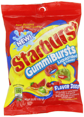 New ! Starburst Gummi Bursts Flavor Duos- 6.0oz