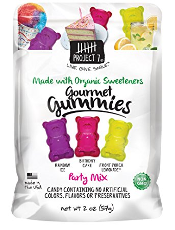 Project 7 Party Mix Gummies with Birthday Cake,Rainbow Ice and Front Porch Lemonade - 2oz