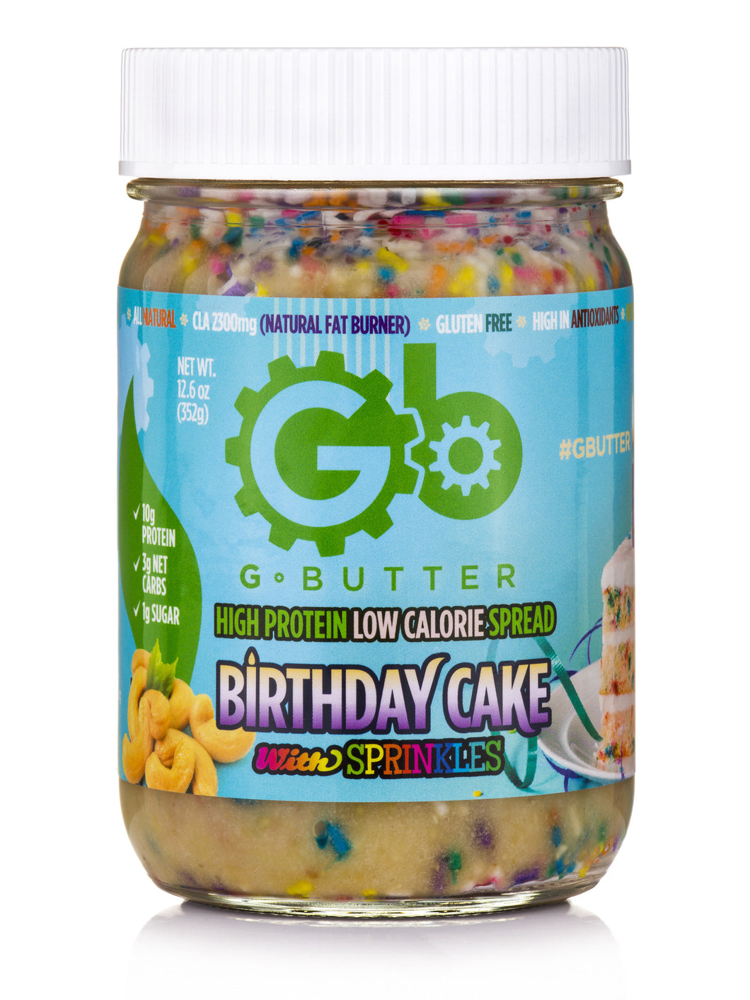 GButter Birthday Cake Nut Butter With Sprinkles 126oz Johnny B Sweet Inc