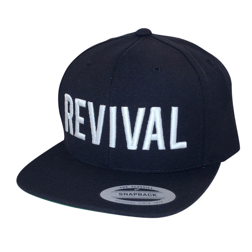 Revival Apparel Revival Black Snap Back with White Embroidery - O/S