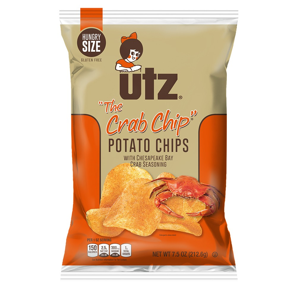 New! Utz The Crab Chip Potato Chips - 7.5oz