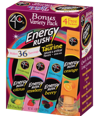4C Energy Rush Sugar Free with Taurine Drink Mixes Variety Pack - 18 Packets