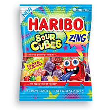 New! Haribo Zing Sour Cubes Exotic Flavours - 4.5oz