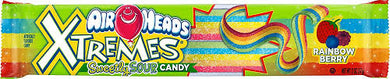 New! Air Heads Xtreame Sweet Sour Candy Strips Rainbow Berry 3oz