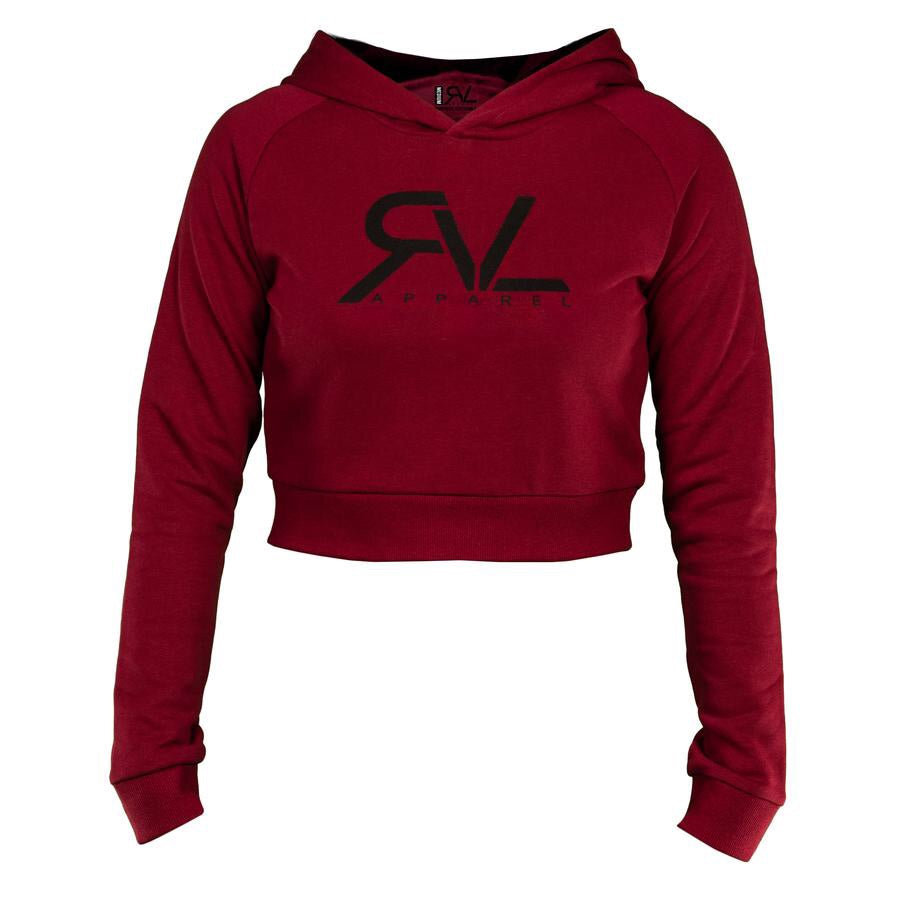New! Revival Women's Signature Crop Hoodie -Maroon/Black