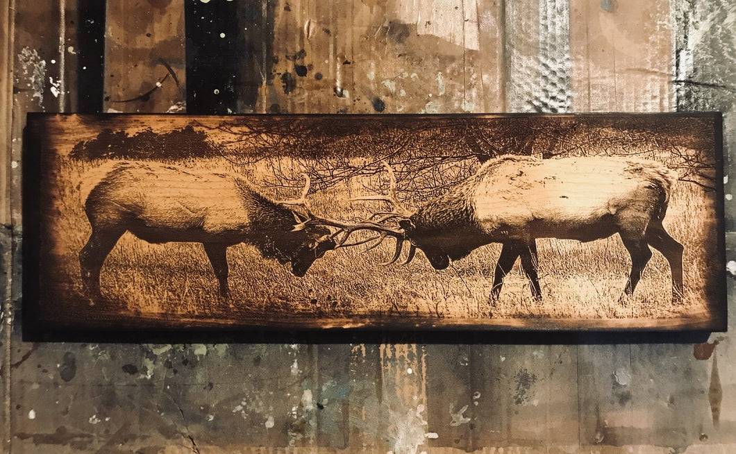 Battling Elk Wooden Sign - Heavy Barrel Designs
