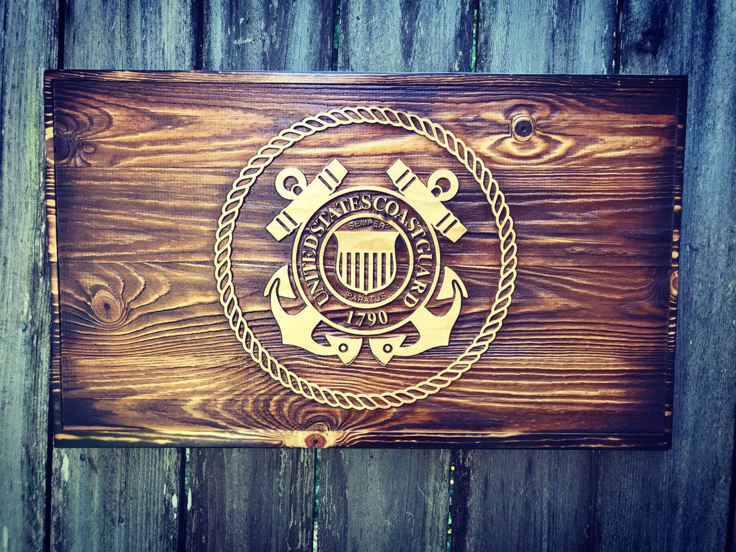 Coast Guard Wooden Flag - Heavy Barrel Designs