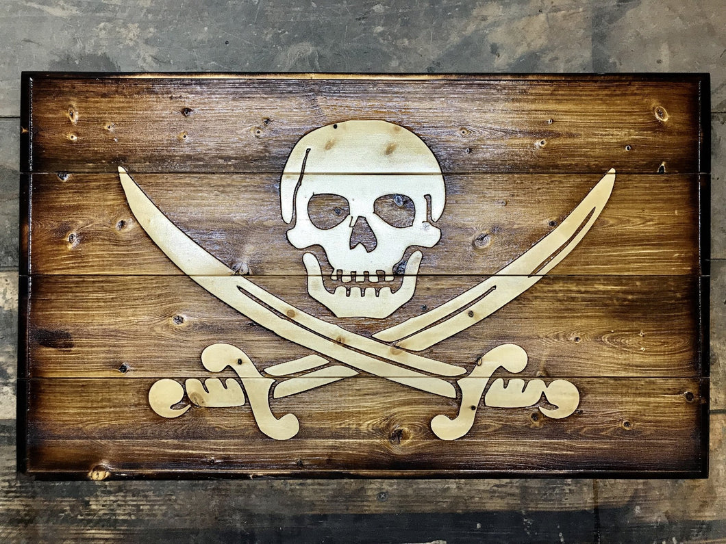Jolly Roger Pine Wood Flag - Heavy Barrel Designs