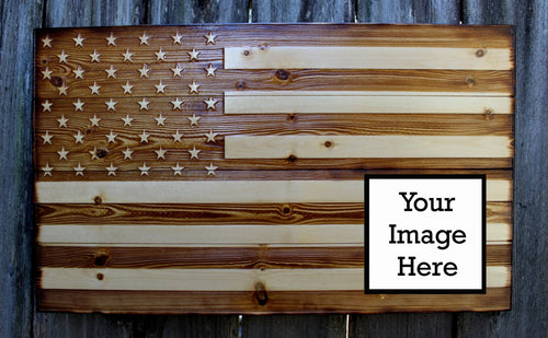Personalized Pine Wood American Flag - Heavy Barrel Designs