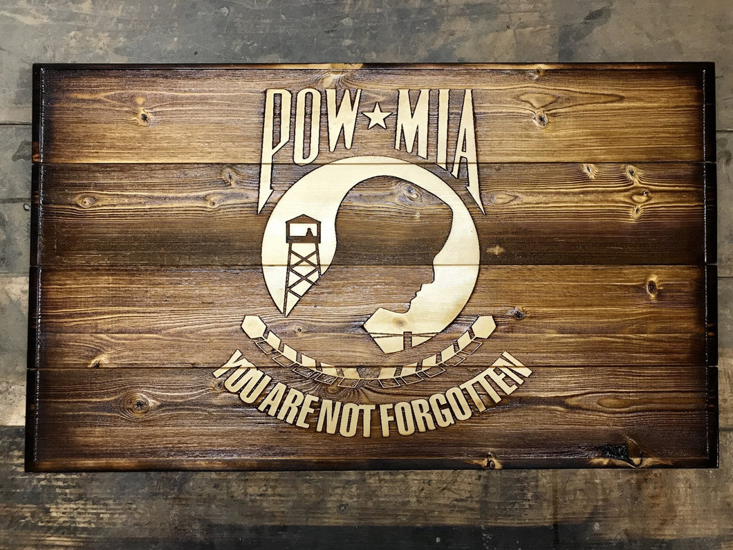 POW/MIA Pine Wood Flag - Heavy Barrel Designs