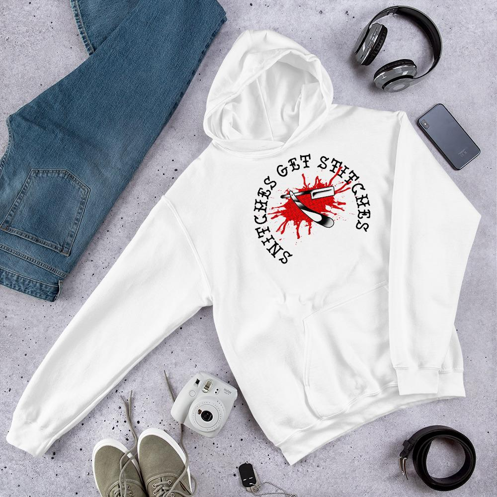 Snitches Get Stitches Unisex Hoodie - Heavy Barrel Designs