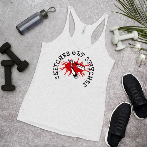 Snitches Get Stitches Women's Racerback Tank - Heavy Barrel Designs