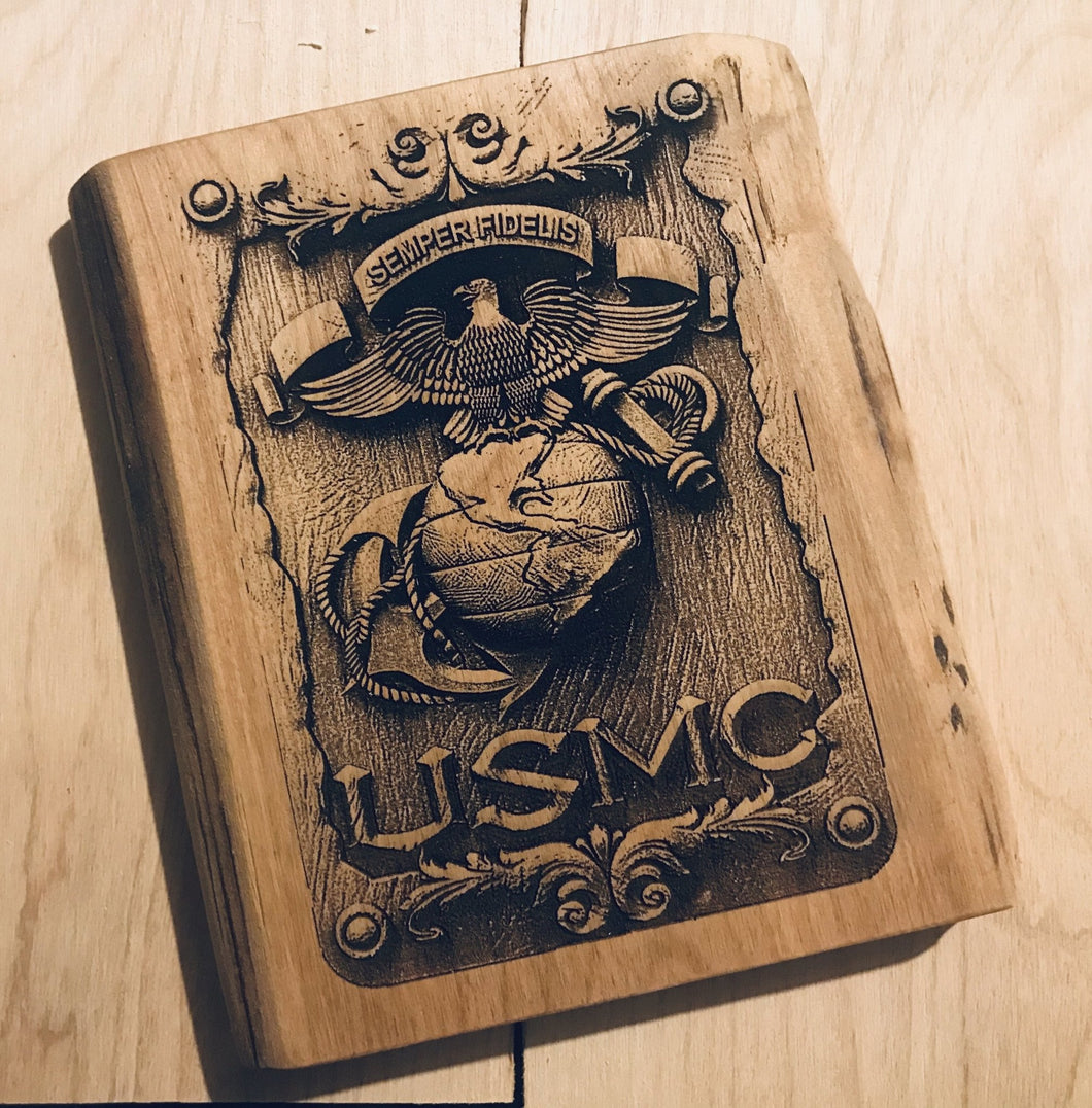 USMC Hardwood Wall Plaque - Heavy Barrel Designs