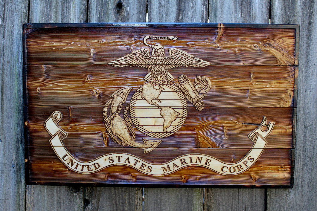 Wooden Marine Corps Flag - Heavy Barrel Designs