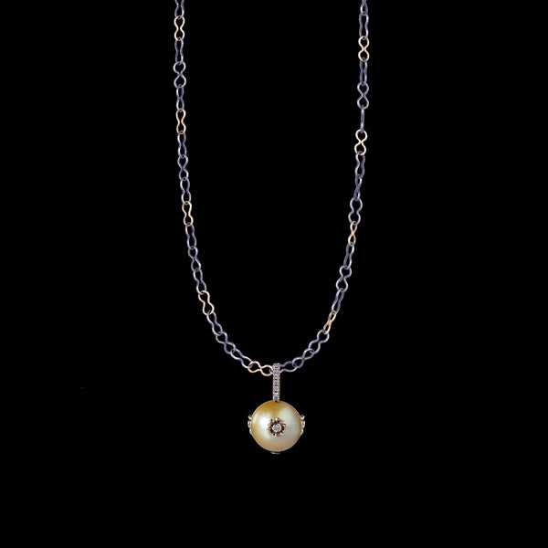 PRIMROSE MARIS GOLDEN SOUTH SEA NEAR ROUND PEARL PENDANT ONE-OF-A-KIND