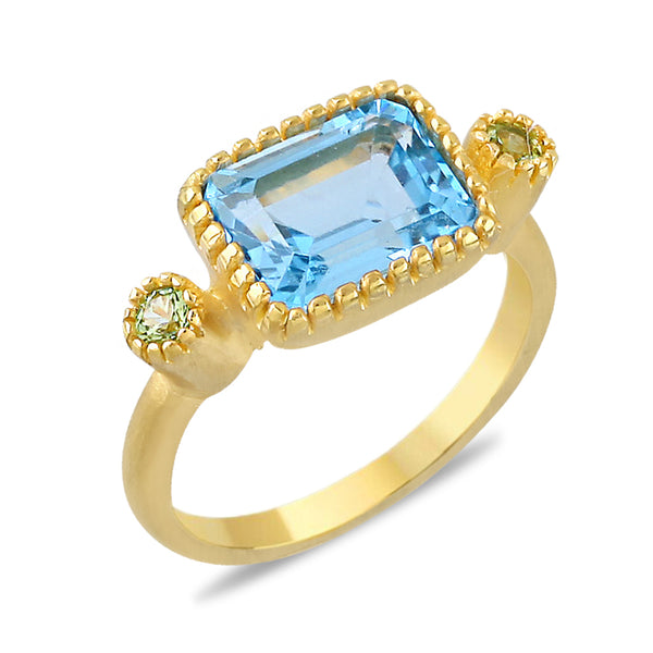 Blossom Rectangular Blue Topaz and Peridot Ring