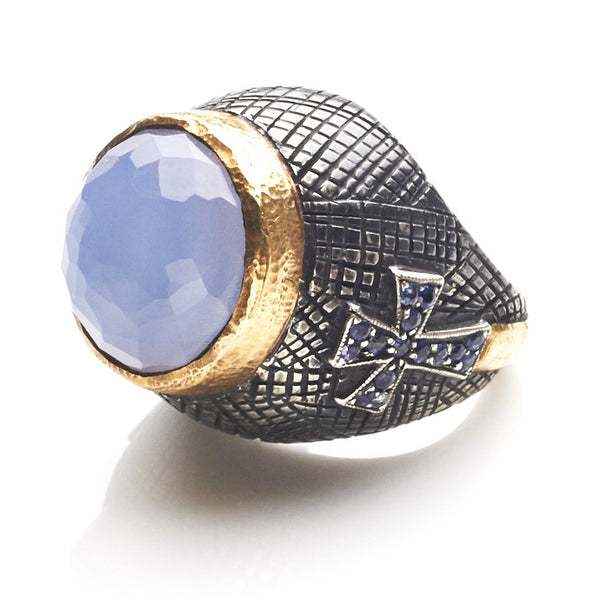 Cross Me Ring Chalcedony and Sapphires