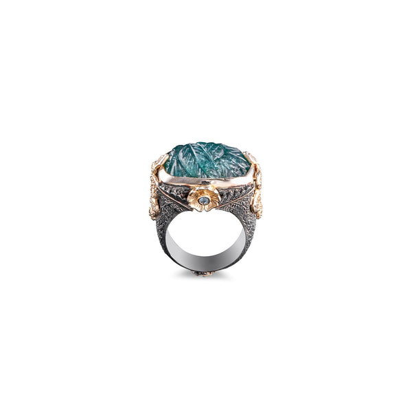 FIRENZE CARVED EMERALD STATEMENT RING