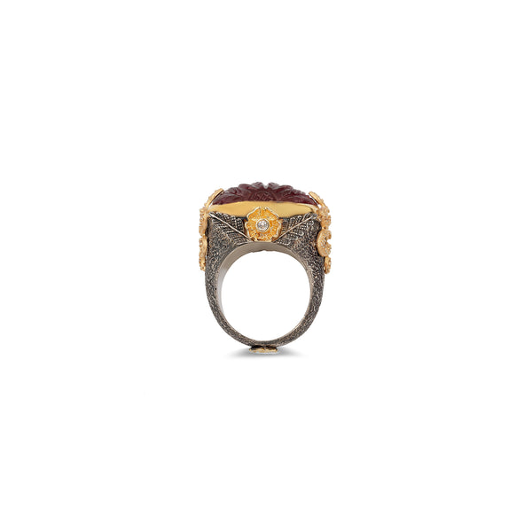 FIRENZE CARVED ROSE TOURMALINE STATEMENT RING