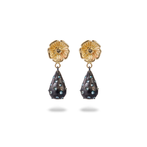 GRAND PRIMROSE POLKA DOT SPIKE DROP EARRINGS
