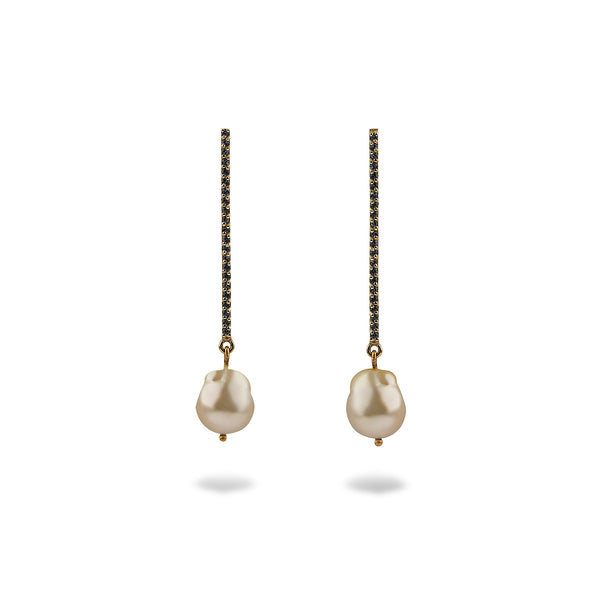 MARISSA MATCHSTICK EARRINGS WITH SEMI-BAROQUE SOUTH SEA PEARL DROPS
