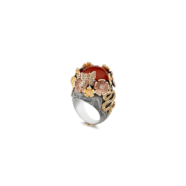 MYSTERY GARDEN CARNELIAN STATEMENT RING