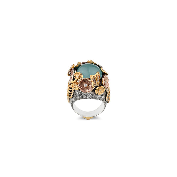 MYSTERY GARDEN AQUAMARINE STATEMENT RING