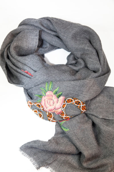 Janavi Snakes and Roses Cashmere Scarf