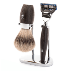 Bog Oak Shaving Set (Real Badger)