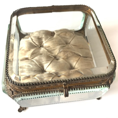 Antique Square Bronze And Glass Jewelry Casket/Box