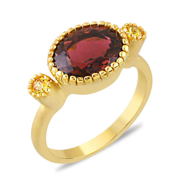 Blossom Rose Tourmaline 14K Gold Oval Ring