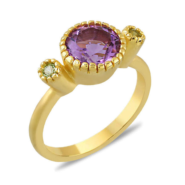 Blossom Round Amethyst and Peridot 8K Ring