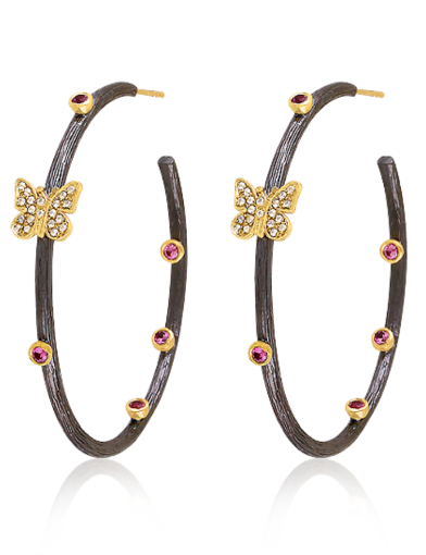 Coming And Going Butterfly Hoop Earrings